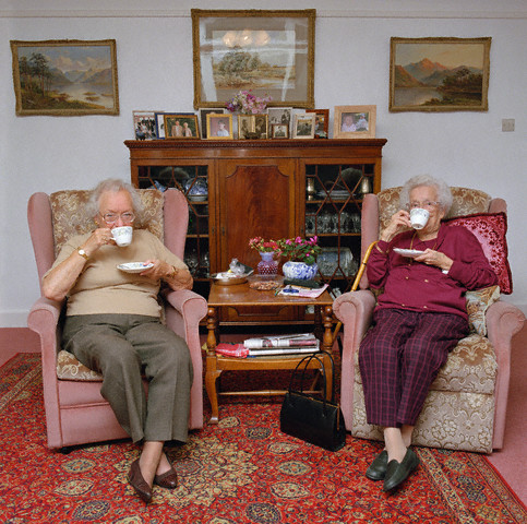 Two Old Ladies Having Tea in Living Room