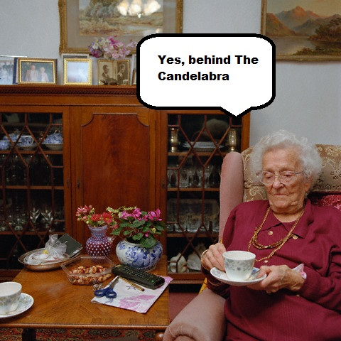 Old Lady Sitting with a Cup of Tea in Armchair in Living Room