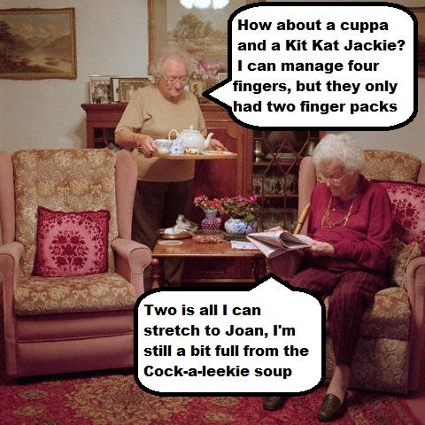 Two Old Ladies Having Tea in Living Room