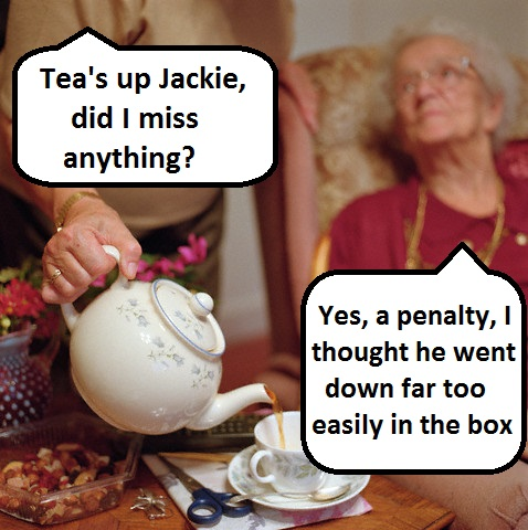 Old Lady Sitting in Armchair While Another Lady Pouring Tea